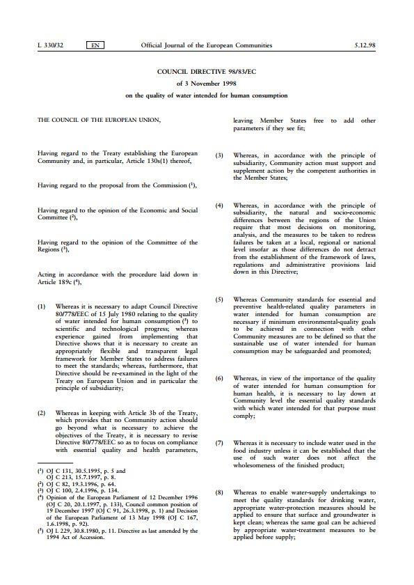 Scotland Council Directive 98-83-EC of Nov 1998